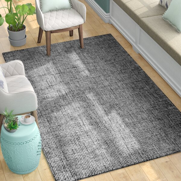 Guildhall Hand-Tufted 100% Wool Black Area Rug by Latitude Run